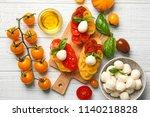 fresh cherry tomatoes ... | Shutterstock . vector #1140218828