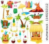 hawaii vector hawaiian beach... | Shutterstock .eps vector #1140232112