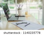office desk table with a lot of ... | Shutterstock . vector #1140235778