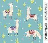 seamless pattern  llamas... | Shutterstock .eps vector #1140236018