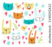 set of lovely doodle icons.... | Shutterstock .eps vector #1140242612
