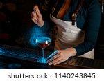 professional bartender girl in... | Shutterstock . vector #1140243845