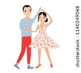 cute romantic couple dancing...   Shutterstock .eps vector #1140249068