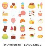 set of kawaii funny sweet food... | Shutterstock .eps vector #1140252812
