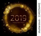 golden glow 2019 new year... | Shutterstock .eps vector #1140256442