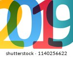 happy new year 2019 colorful...   Shutterstock .eps vector #1140256622