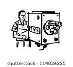 tv cameraman   retro clipart... | Shutterstock .eps vector #114026335