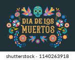 Stock vector day of the dead dia de los moertos banner with colorful mexican flowers fiesta holiday poster 1140263918