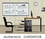 office desk info graphics with...   Shutterstock .eps vector #1140269228