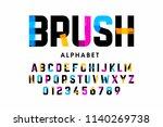brush stroke font  alphabet... | Shutterstock .eps vector #1140269738