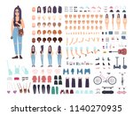 teenage girl constructor or... | Shutterstock .eps vector #1140270935