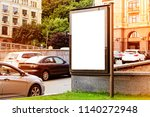 vertical blank white billboard... | Shutterstock . vector #1140272948