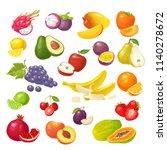 set fruits. mango  lime  banana ... | Shutterstock .eps vector #1140278672