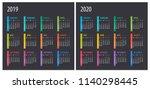 2019 2020 calendar  ... | Shutterstock .eps vector #1140298445