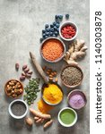 various colorful superfoods as... | Shutterstock . vector #1140303878