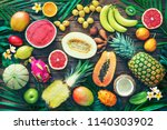 assortment of tropical fruits... | Shutterstock . vector #1140303902