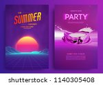 retro background futuristic... | Shutterstock .eps vector #1140305408