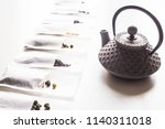 different teas in a disposable... | Shutterstock . vector #1140311018