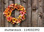 Autumn Flower Wreath On Rustic...