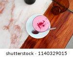 beetroot velvet latte | Shutterstock . vector #1140329015