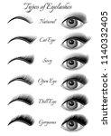 set  of eyes and black... | Shutterstock .eps vector #1140332405