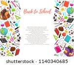 hand drawn school objects in... | Shutterstock .eps vector #1140340685