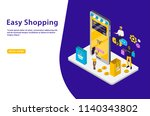 easy shopping isometric vector... | Shutterstock .eps vector #1140343802