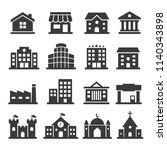 set vector building icons | Shutterstock .eps vector #1140343898