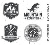 set of mountain expedition... | Shutterstock . vector #1140345275