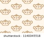 cute monkey head vector pattern.... | Shutterstock .eps vector #1140345518