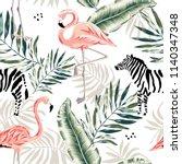 pink flamingo  zebra  palm... | Shutterstock .eps vector #1140347348