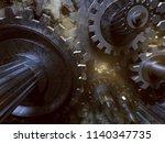 gears with smoke  3d rendering  | Shutterstock . vector #1140347735