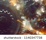 gears  sparks and smoke  3d... | Shutterstock . vector #1140347738