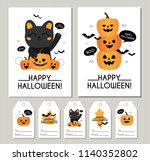halloween. autumn  fall. cute... | Shutterstock .eps vector #1140352802