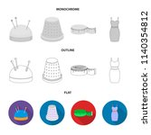 pincushion with pins  thimble ...   Shutterstock .eps vector #1140354812