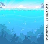 underwater landscape  vector... | Shutterstock .eps vector #1140357245