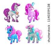 little cute cartoon pony... | Shutterstock .eps vector #1140359138