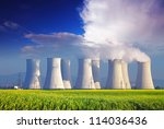 nuclear power plant with yellow ... | Shutterstock . vector #114036436