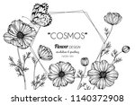 cosmos flower frame drawing... | Shutterstock .eps vector #1140372908