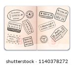 realistic open foreign passport ... | Shutterstock .eps vector #1140378272