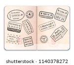 realistic open foreign passport ... | Shutterstock .eps vector #1140378272