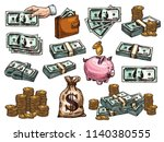 money dollar banknotes and... | Shutterstock .eps vector #1140380555