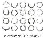 vector laurel wreaths on black...   Shutterstock .eps vector #1140400928