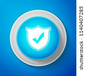 white shield with check mark... | Shutterstock . vector #1140407285
