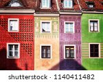 poznan city old town colorful... | Shutterstock . vector #1140411482