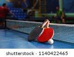 ping pong ball and racket next...   Shutterstock . vector #1140422465