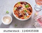 spaghetti pasta with meatballs... | Shutterstock . vector #1140435308