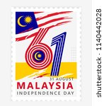 happy malaysia independence day ...   Shutterstock .eps vector #1140442028