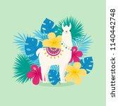 cute cartoon llama in... | Shutterstock .eps vector #1140442748