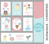 pink blue pastel greeting card...   Shutterstock .eps vector #1140449342